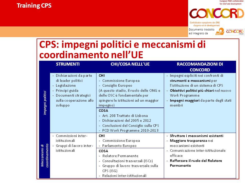 Documento tradotto ed integrato da CPS: impegni politici e meccanismi di coordinamento nell'UE Training CPS