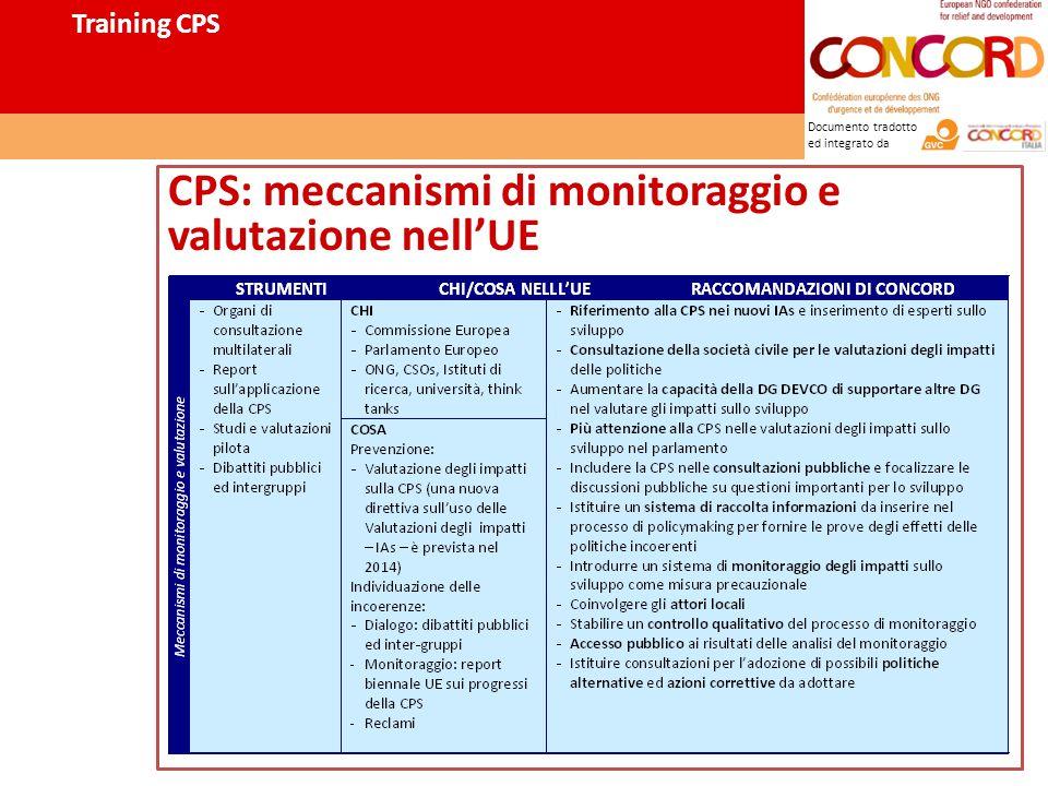 Documento tradotto ed integrato da CPS: meccanismi di monitoraggio e valutazione nell'UE Training CPS