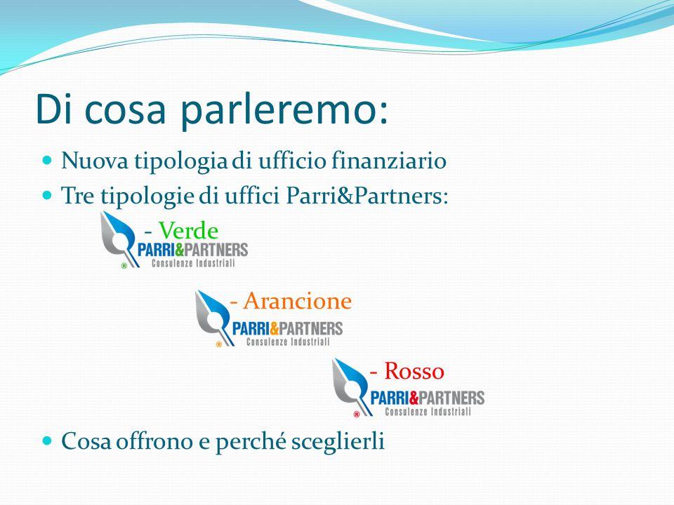Di cosa parleremo: Nuova tipologia di ufficio finanziario Tre tipologie di uffici Parri&Partners: - Verde - Arancione - Rosso Cosa offrono e perché sc