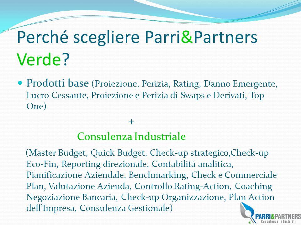 Perché scegliere Parri&Partners Verde? Prodotti base (Proiezione, Perizia, Rating, Danno Emergente, Lucro Cessante, Proiezione e Perizia di Swaps e De