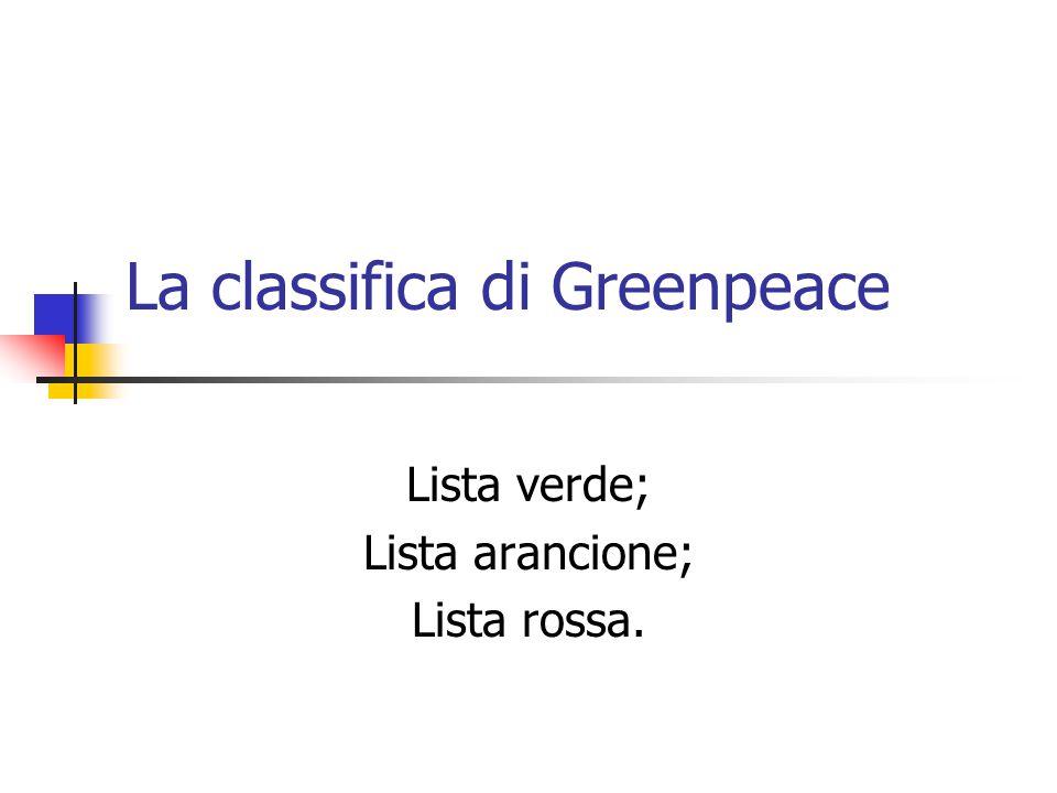 La classifica di Greenpeace Lista verde; Lista arancione; Lista rossa.