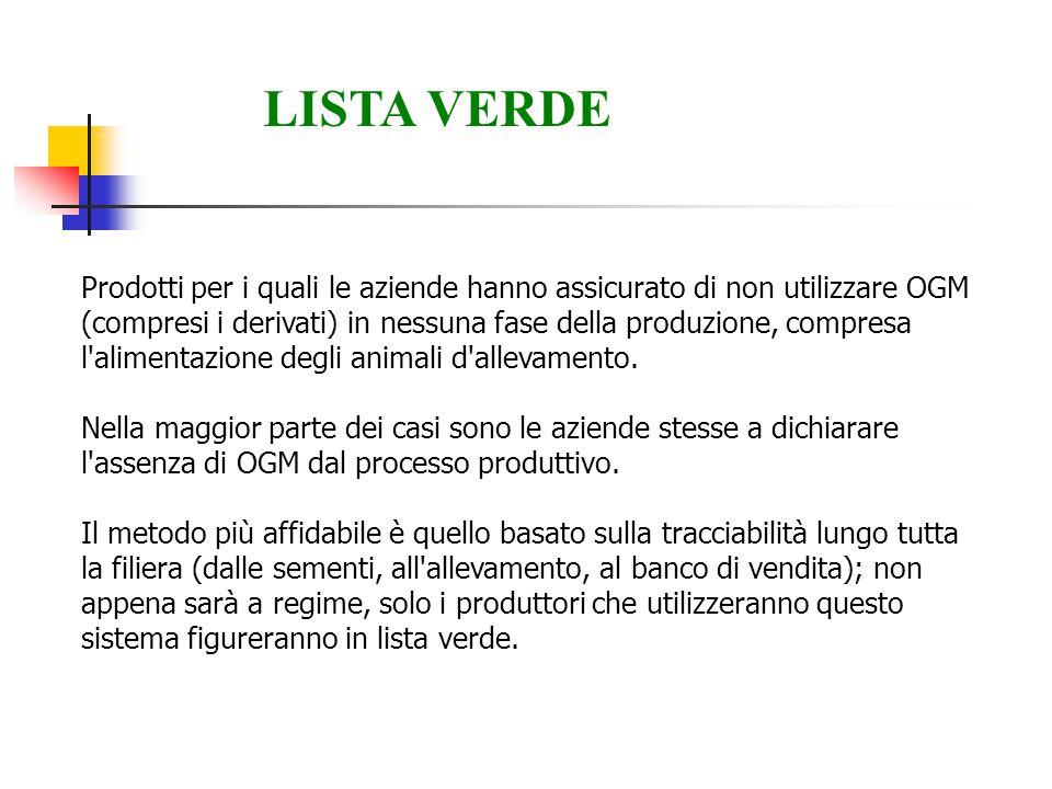 Prodotti per i quali le aziende hanno assicurato di non utilizzare OGM (compresi i derivati) in nessuna fase della produzione, compresa l'alimentazion