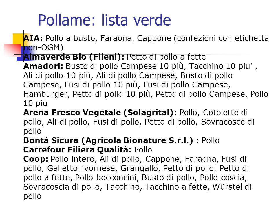 Pollame: lista verde AIA: Pollo a busto, Faraona, Cappone (confezioni con etichetta non-OGM) Almaverde Bio (Fileni): Petto di pollo a fette Amadori: B