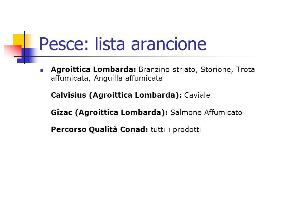 Pesce: lista arancione Agroittica Lombarda: Branzino striato, Storione, Trota affumicata, Anguilla affumicata Calvisius (Agroittica Lombarda): Caviale