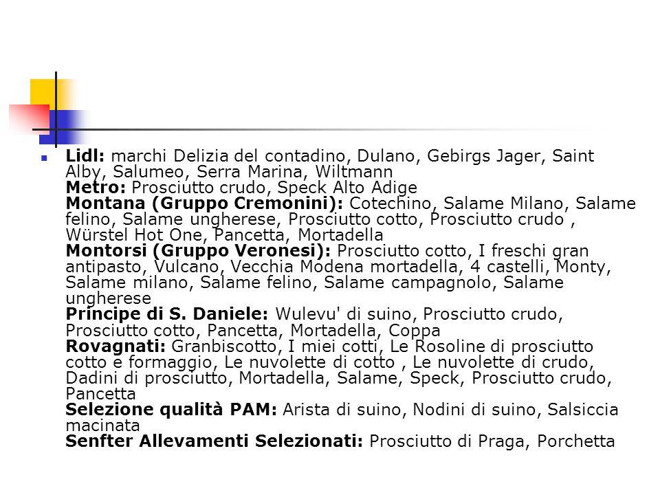 Lidl: marchi Delizia del contadino, Dulano, Gebirgs Jager, Saint Alby, Salumeo, Serra Marina, Wiltmann Metro: Prosciutto crudo, Speck Alto Adige Monta