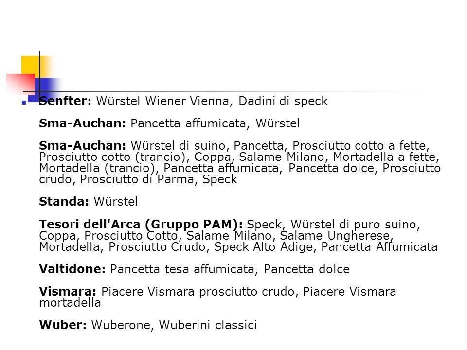 Senfter: Würstel Wiener Vienna, Dadini di speck Sma-Auchan: Pancetta affumicata, Würstel Sma-Auchan: Würstel di suino, Pancetta, Prosciutto cotto a fe