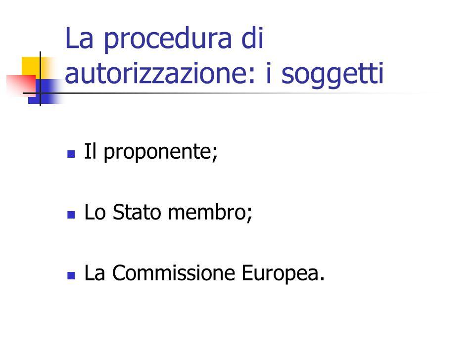 La procedura di autorizzazione: i soggetti Il proponente; Lo Stato membro; La Commissione Europea.