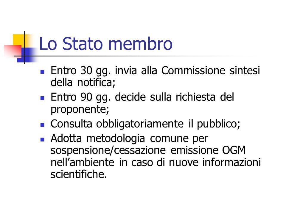 Lo Stato membro Entro 30 gg. invia alla Commissione sintesi della notifica; Entro 90 gg. decide sulla richiesta del proponente; Consulta obbligatoriam