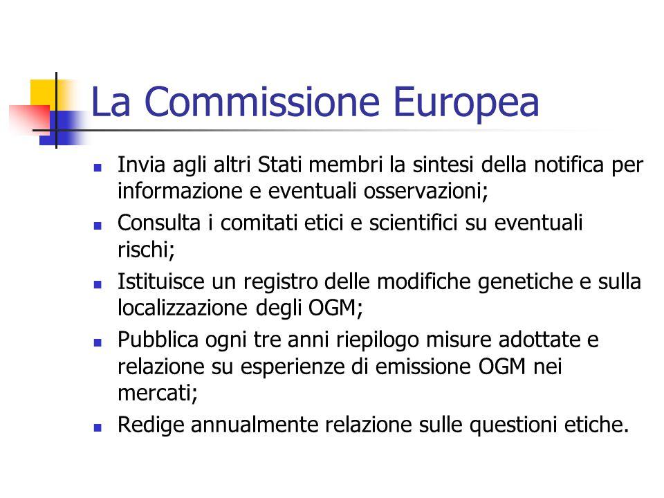 La Commissione Europea Invia agli altri Stati membri la sintesi della notifica per informazione e eventuali osservazioni; Consulta i comitati etici e