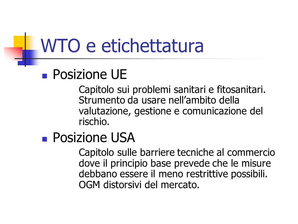 WTO e etichettatura Posizione UE Capitolo sui problemi sanitari e fitosanitari. Strumento da usare nell'ambito della valutazione, gestione e comunicaz