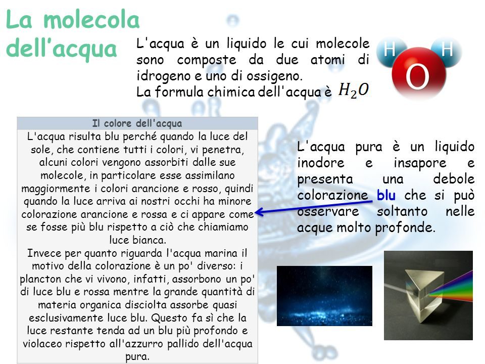 La molecola dell'acqua L acqua è un liquido le cui molecole sono composte da due atomi di idrogeno e uno di ossigeno.