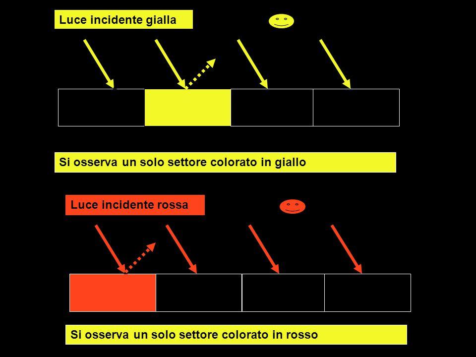 Luce incidente gialla Si osserva un solo settore colorato in giallo Luce incidente rossa Si osserva un solo settore colorato in rosso