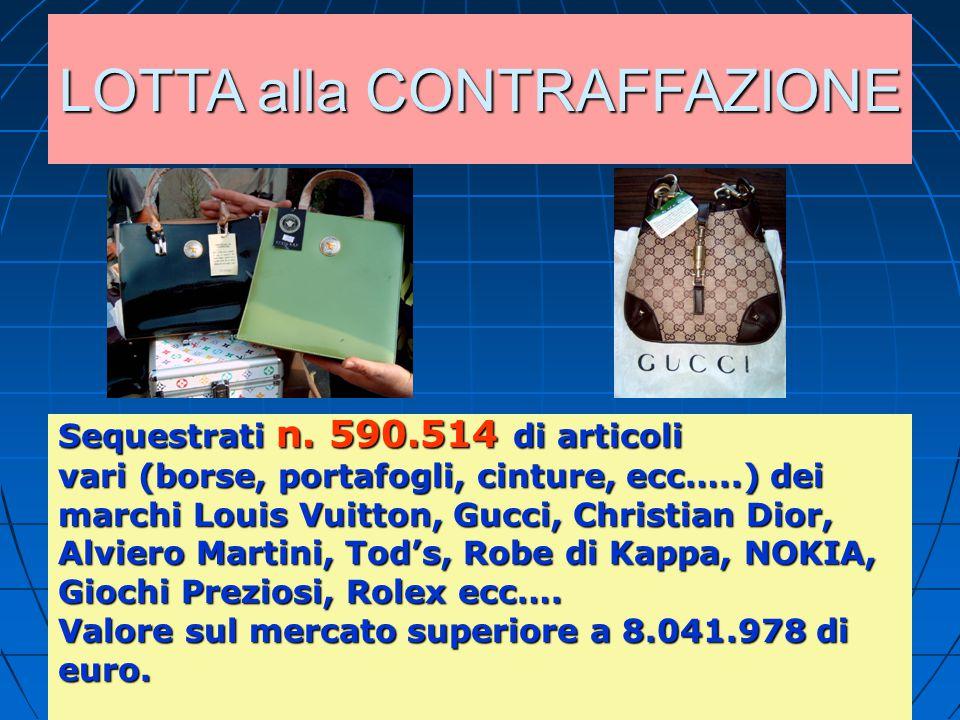 LOTTA alla CONTRAFFAZIONE Sequestrati n. 590.514 di articoli vari (borse, portafogli, cinture, ecc…..) dei marchi Louis Vuitton, Gucci, Christian Dior