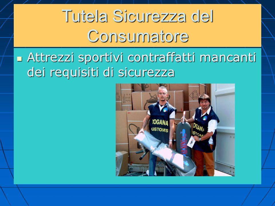 Tutela Sicurezza del Consumatore Attrezzi sportivi contraffatti mancanti dei requisiti di sicurezza Attrezzi sportivi contraffatti mancanti dei requis