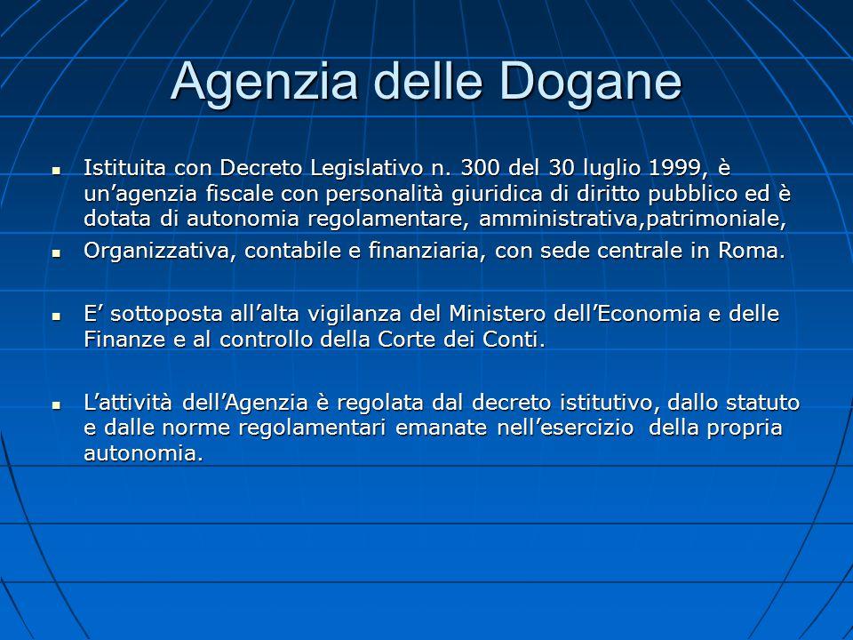 Agenzia delle Dogane Istituita con Decreto Legislativo n. 300 del 30 luglio 1999, è un'agenzia fiscale con personalità giuridica di diritto pubblico e