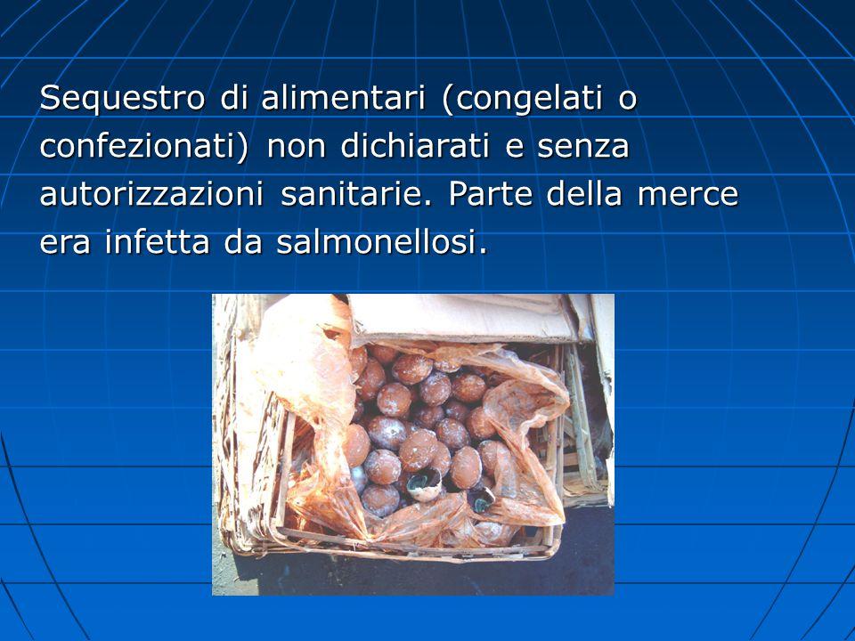 Sequestro di alimentari (congelati o confezionati) non dichiarati e senza autorizzazioni sanitarie. Parte della merce era infetta da salmonellosi.