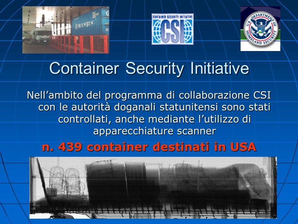 Container Security Initiative Nell'ambito del programma di collaborazione CSI con le autorità doganali statunitensi sono stati controllati, anche medi