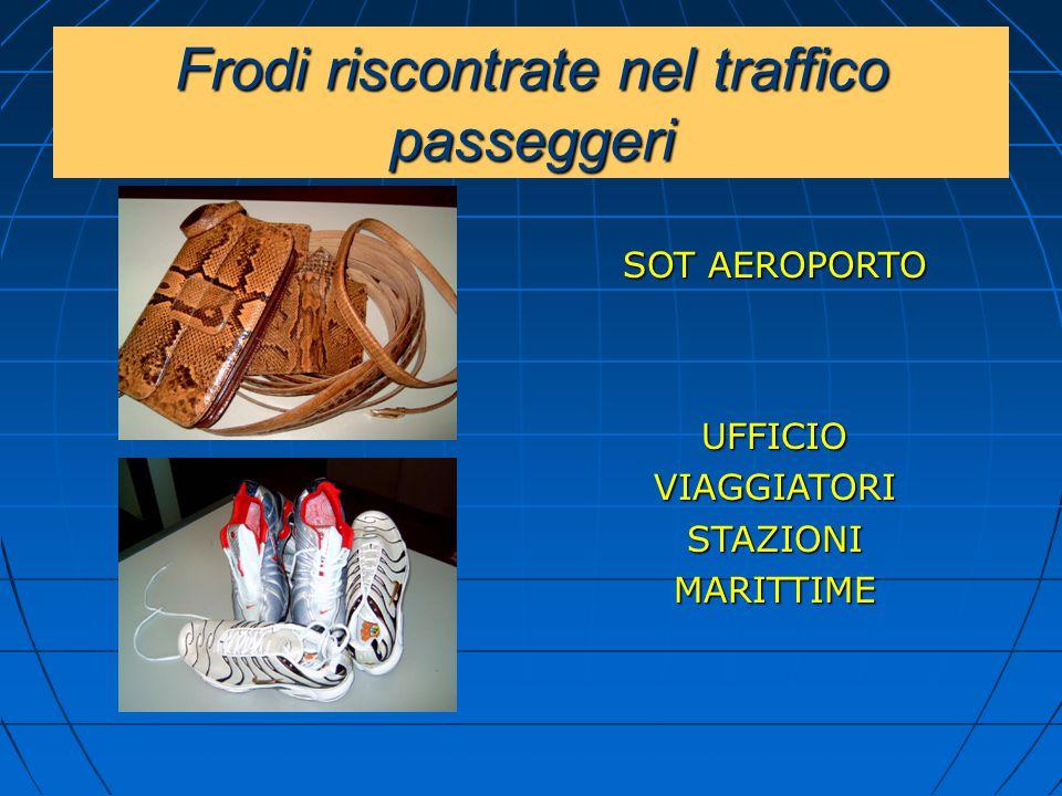 Frodi riscontrate nel traffico passeggeri SOT AEROPORTO UFFICIOVIAGGIATORISTAZIONIMARITTIME