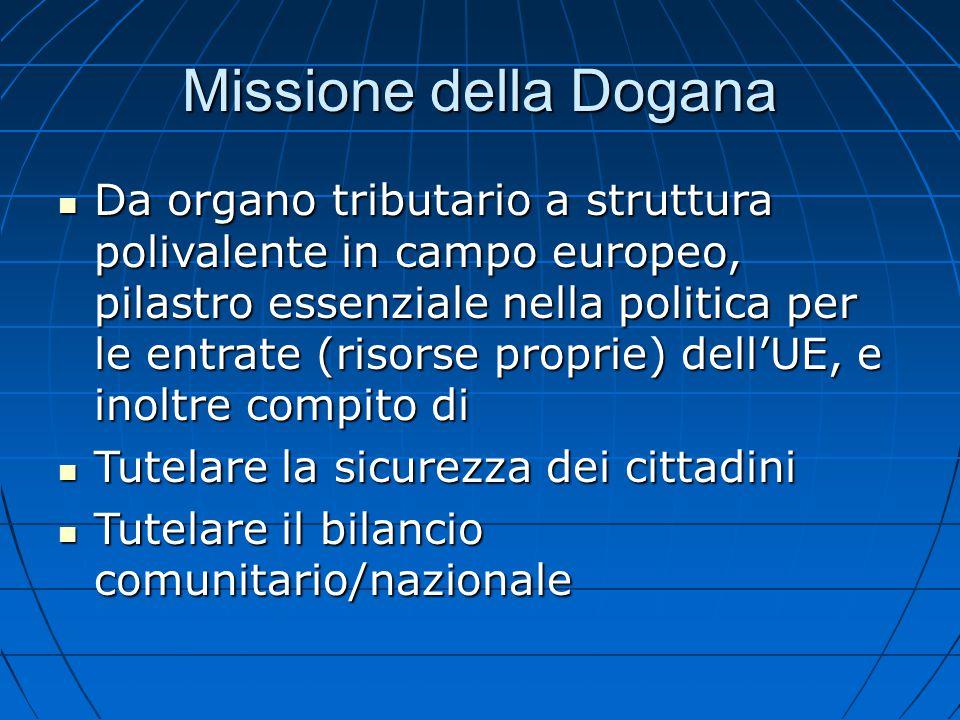 Missione della Dogana Da organo tributario a struttura polivalente in campo europeo, pilastro essenziale nella politica per le entrate (risorse propri