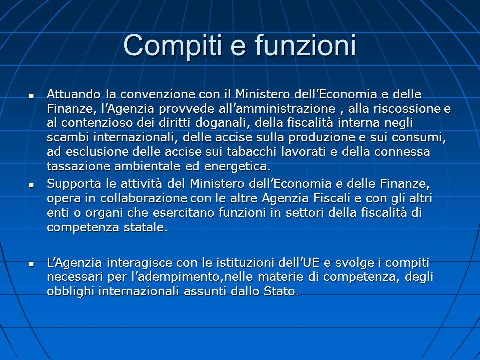 Compiti e funzioni Attuando la convenzione con il Ministero dell'Economia e delle Finanze, l'Agenzia provvede all'amministrazione, alla riscossione e