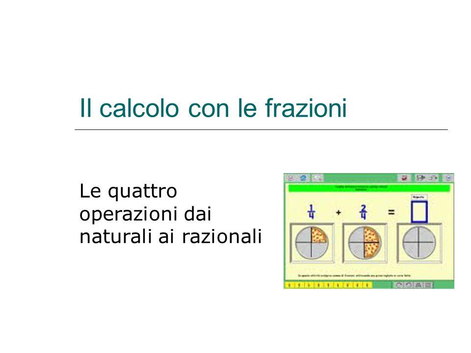 Il calcolo con le frazioni Le quattro operazioni dai naturali ai razionali