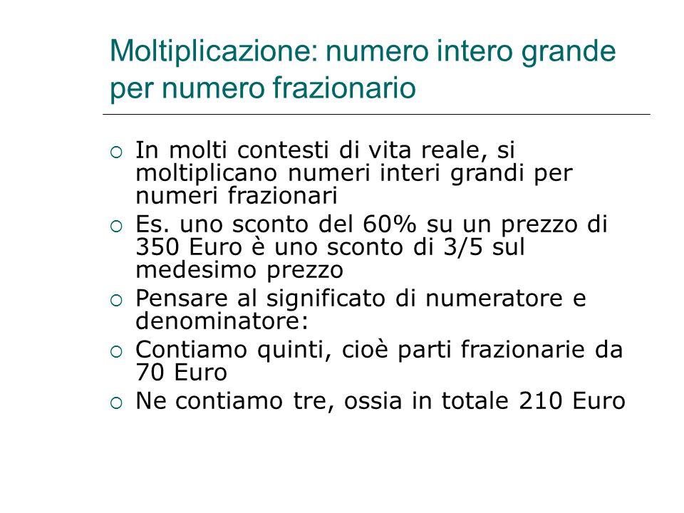 Moltiplicazione: numero intero grande per numero frazionario  In molti contesti di vita reale, si moltiplicano numeri interi grandi per numeri frazio