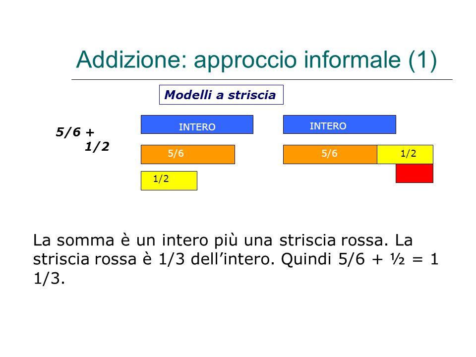 Addizione: approccio informale (1) 5/6 + 1/2 Modelli a striscia INTERO 5/6 1/2 INTERO 5/61/2 La somma è un intero più una striscia rossa. La striscia