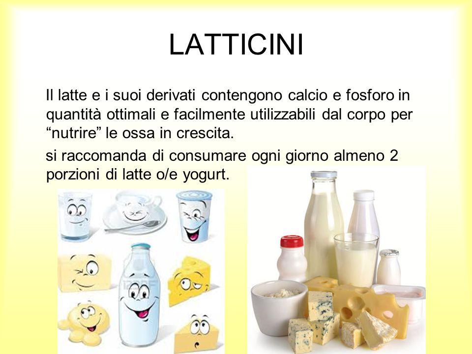 LATTICINI Il latte e i suoi derivati contengono calcio e fosforo in quantità ottimali e facilmente utilizzabili dal corpo per nutrire le ossa in crescita.