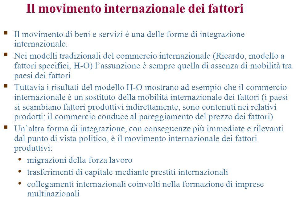  Il movimento di beni e servizi è una delle forme di integrazione internazionale.  Nei modelli tradizionali del commercio internazionale (Ricardo, m