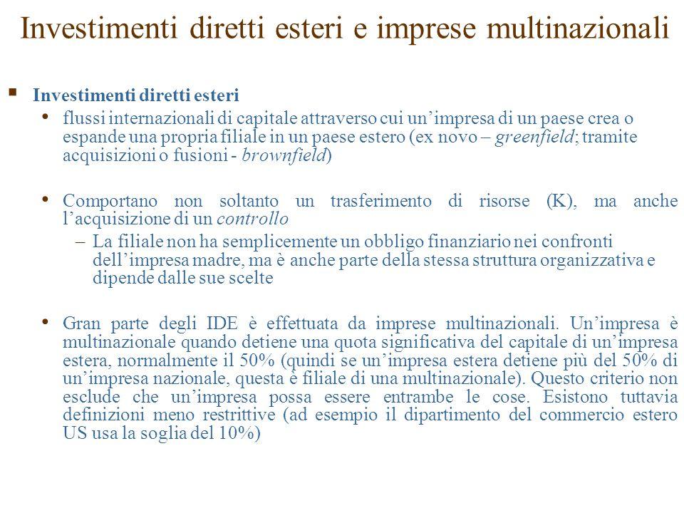 Investimenti diretti esteri e imprese multinazionali  Investimenti diretti esteri flussi internazionali di capitale attraverso cui un'impresa di un p