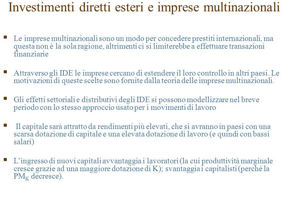 Investimenti diretti esteri e imprese multinazionali  Le imprese multinazionali sono un modo per concedere prestiti internazionali, ma questa non è l