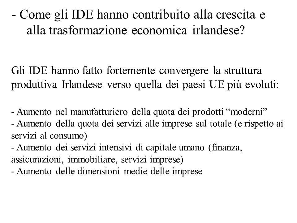 - Come gli IDE hanno contribuito alla crescita e alla trasformazione economica irlandese? Gli IDE hanno fatto fortemente convergere la struttura produ