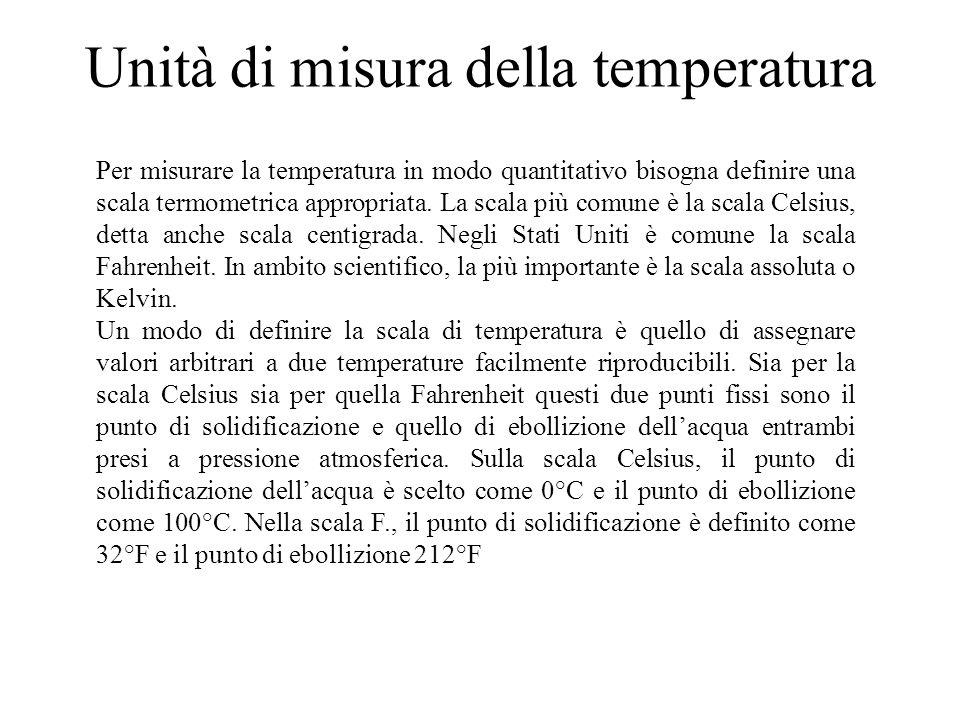 Unità di misura della temperatura Per misurare la temperatura in modo quantitativo bisogna definire una scala termometrica appropriata.