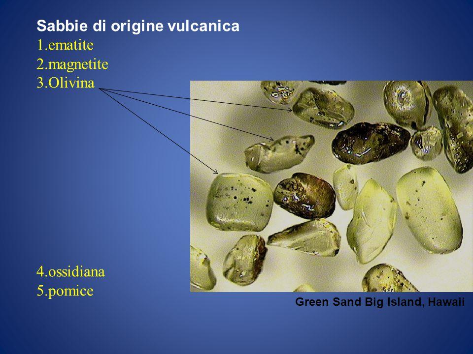 Sabbie di origine vulcanica 1.ematite 2.magnetite 3.Olivina 4.ossidiana 5.pomice Green Sand Big Island, Hawaii