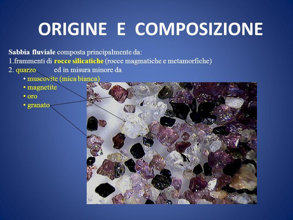 ORIGINE E COMPOSIZIONE Sabbia fluviale composta principalmente da: 1.frammenti di rocce silicatiche (rocce magmatiche e metamorfiche) 2. quarzo ed in