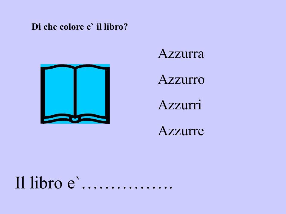 Il libro e`……………. Azzurra Azzurro Azzurri Azzurre Di che colore e` il libro?