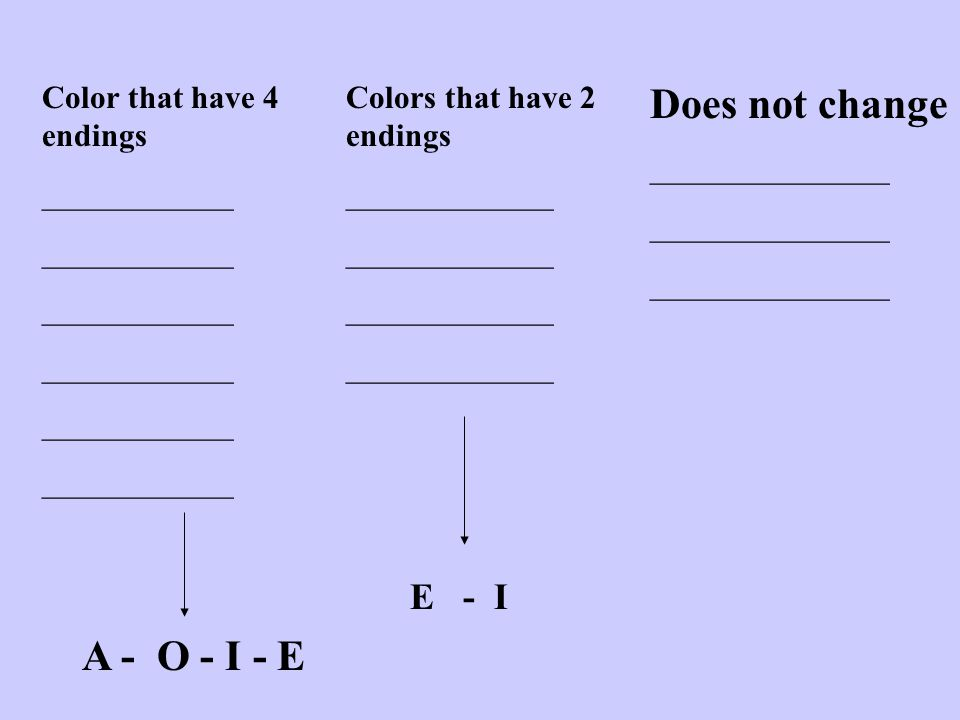 Color that have 4 endings ____________ Colors that have 2 endings _____________ Does not change _______________ A - O - I - E E - I