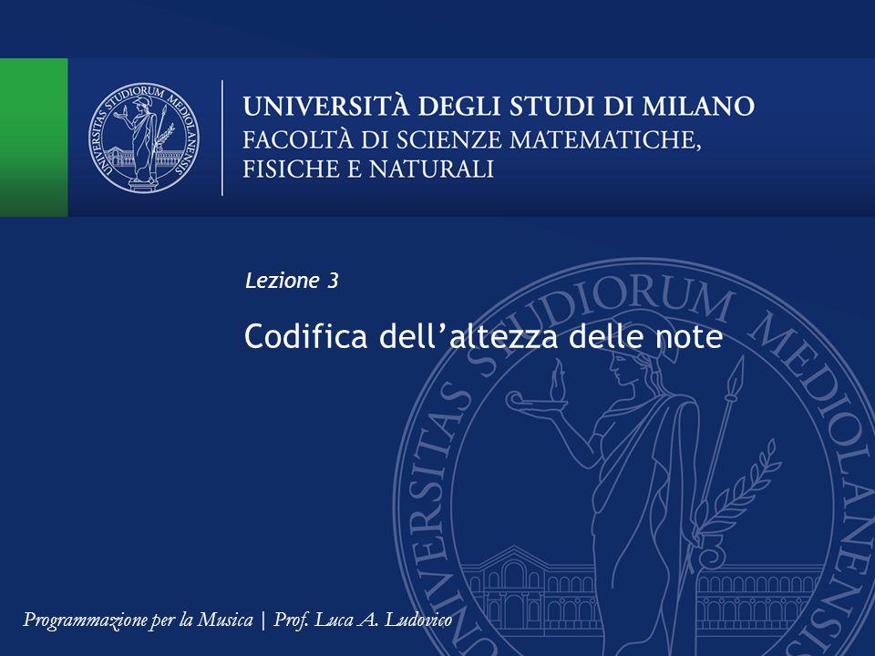 Codifica dell'altezza delle note Lezione 3 Programmazione per la Musica | Prof. Luca A. Ludovico