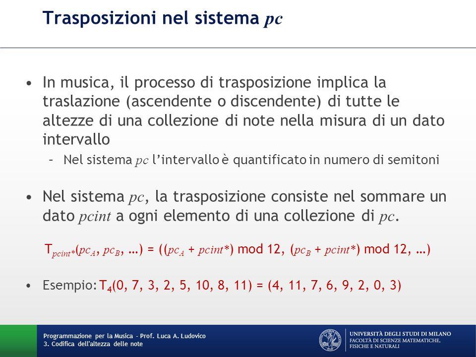 Trasposizioni nel sistema pc In musica, il processo di trasposizione implica la traslazione (ascendente o discendente) di tutte le altezze di una coll