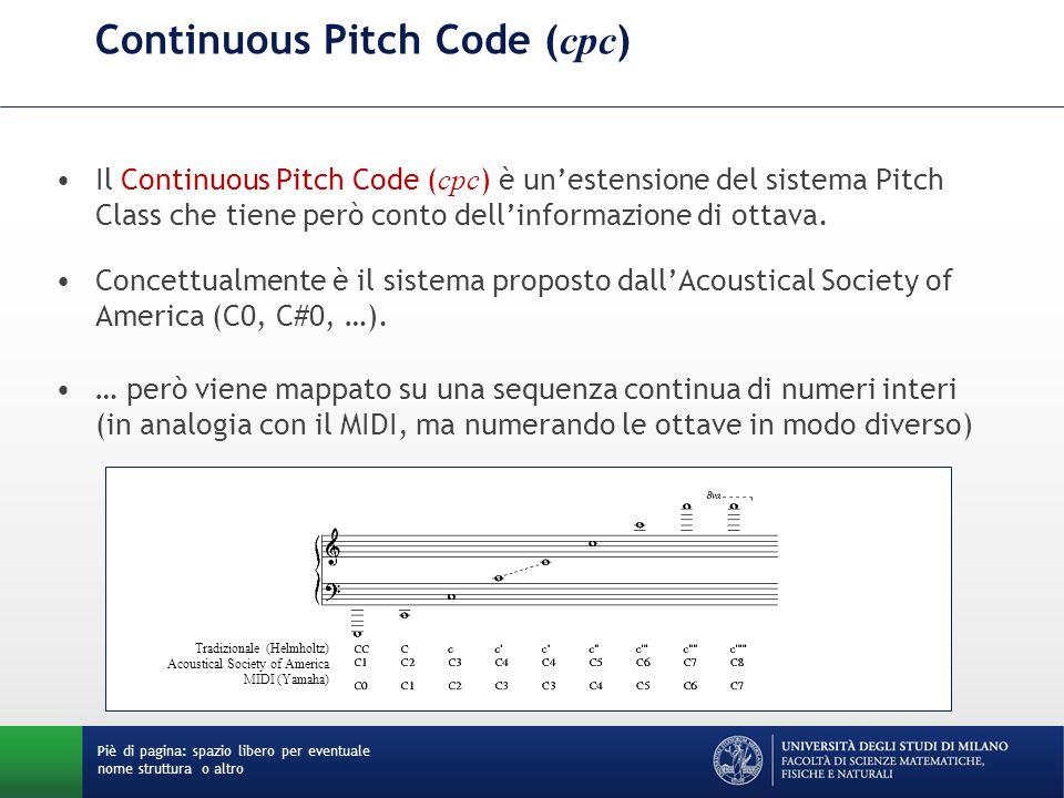Continuous Pitch Code ( cpc ) Il Continuous Pitch Code ( cpc ) è un'estensione del sistema Pitch Class che tiene però conto dell'informazione di ottav