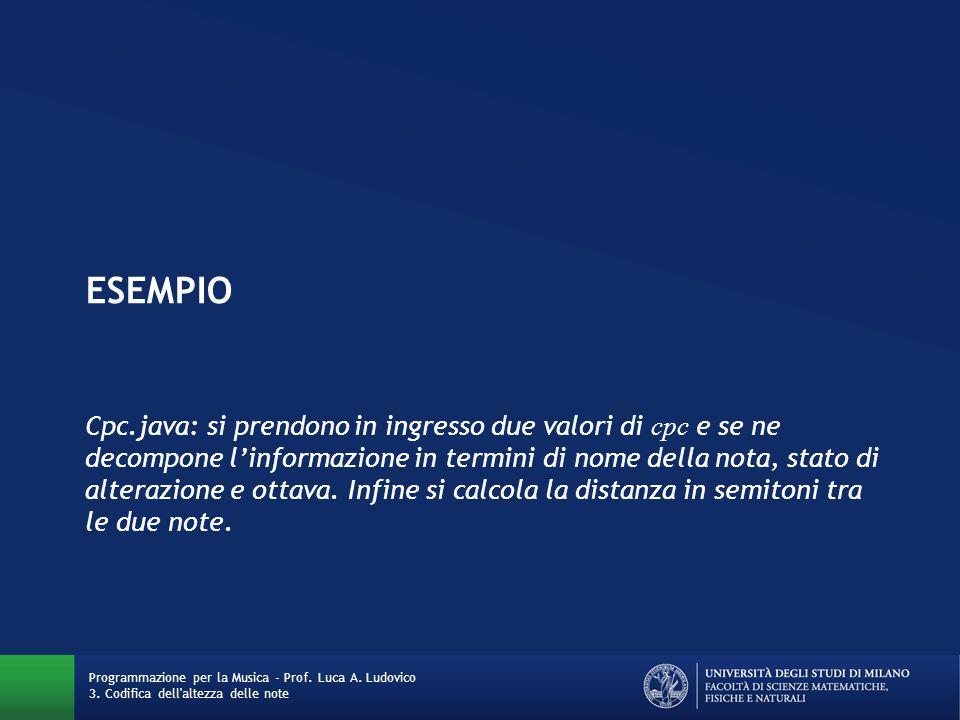 ESEMPIO Cpc.java: si prendono in ingresso due valori di cpc e se ne decompone l'informazione in termini di nome della nota, stato di alterazione e ott