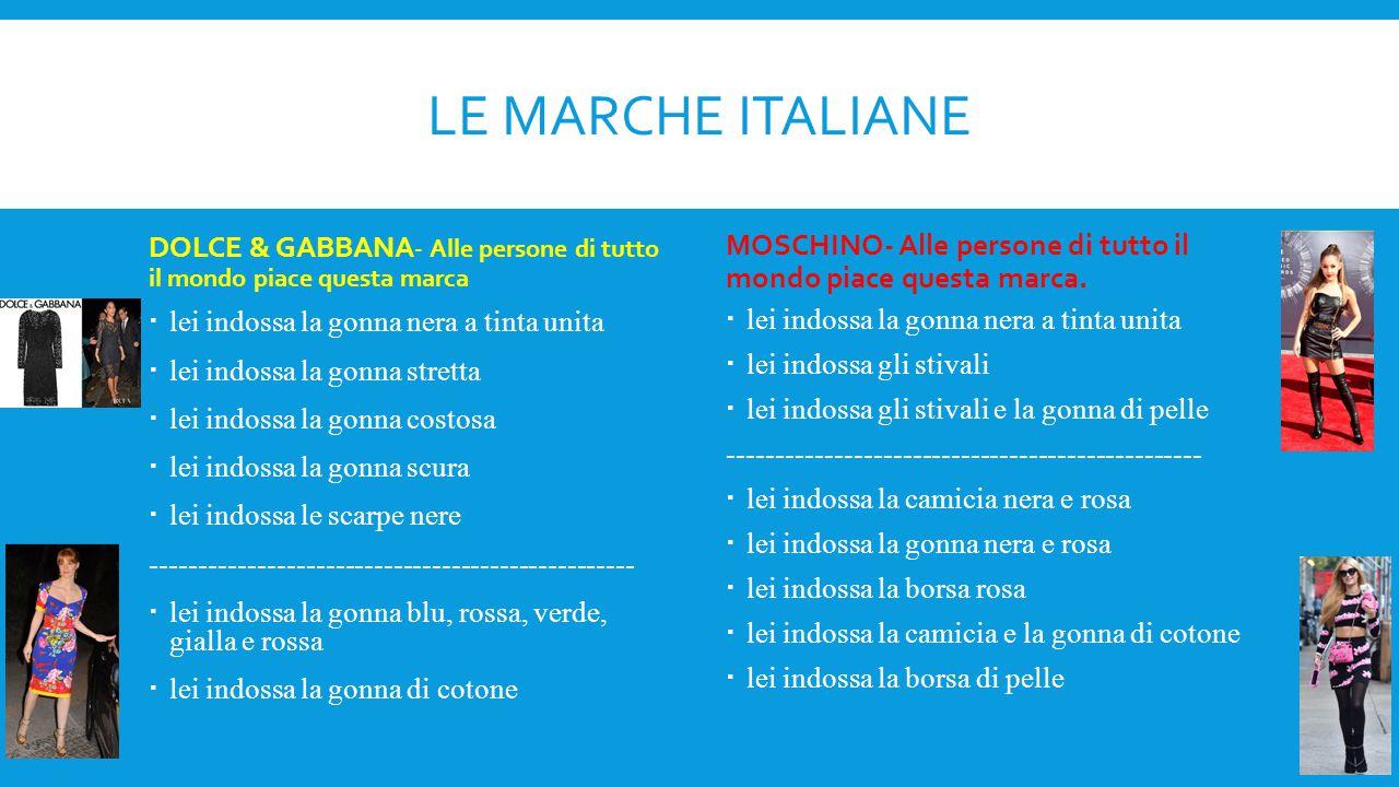 LA MODA AMERICANA CONTRO LA MODA ITALIANA DIFFERENZE Italiana: 1.non è larga 2.è elegante 3.è blu,rossa, gialla, bianca, nera e verde SOMIGLIANZE  è costosa  è stretta  è chiara e colori scuri