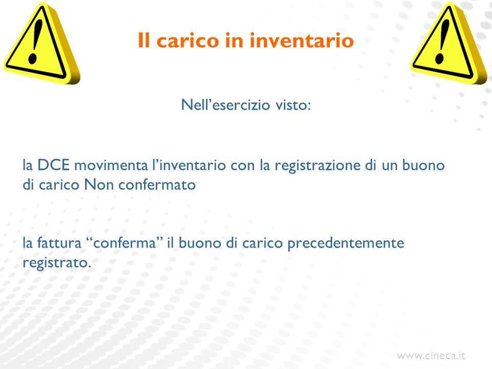 www.cineca.it Il carico in inventario Nell'esercizio visto: la DCE movimenta l'inventario con la registrazione di un buono di carico Non confermato la