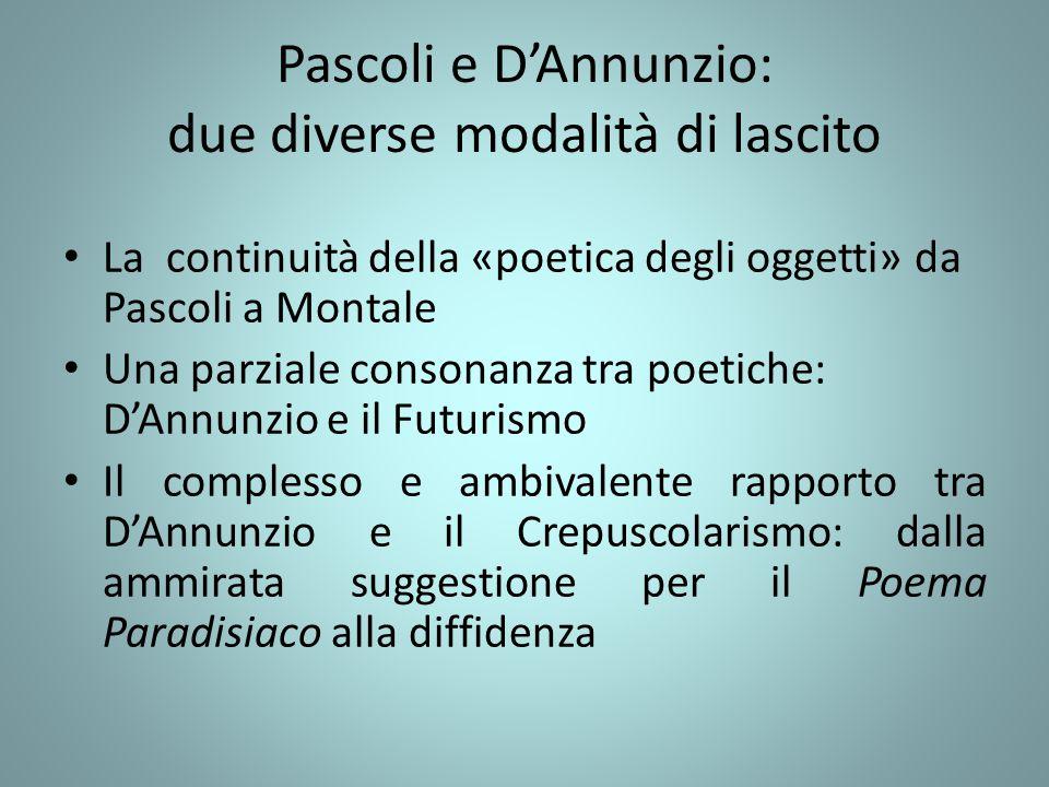 Pascoli e D'Annunzio: due diverse modalità di lascito La continuità della «poetica degli oggetti» da Pascoli a Montale Una parziale consonanza tra poe