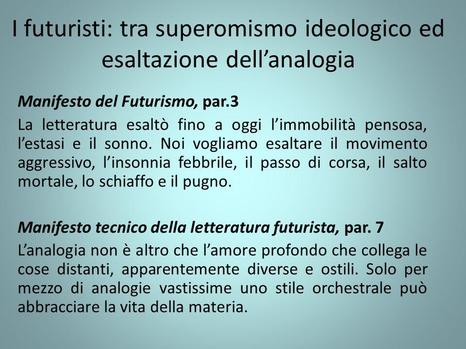 I futuristi: tra superomismo ideologico ed esaltazione dell'analogia Manifesto del Futurismo, par.3 La letteratura esaltò fino a oggi l'immobilità pen