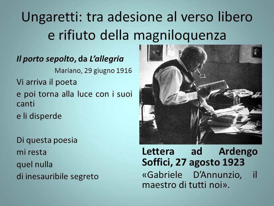 Ungaretti: tra adesione al verso libero e rifiuto della magniloquenza Il porto sepolto, da L'allegria Mariano, 29 giugno 1916 Vi arriva il poeta e poi