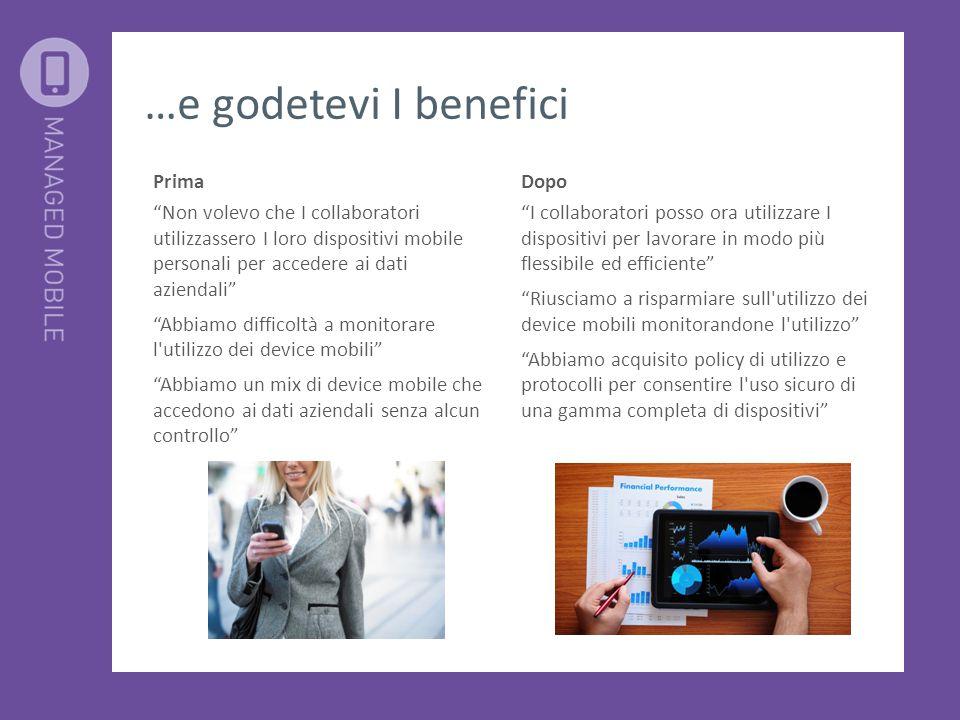 """…e godetevi I benefici Dopo """"I collaboratori posso ora utilizzare I dispositivi per lavorare in modo più flessibile ed efficiente"""" """"Riusciamo a rispar"""