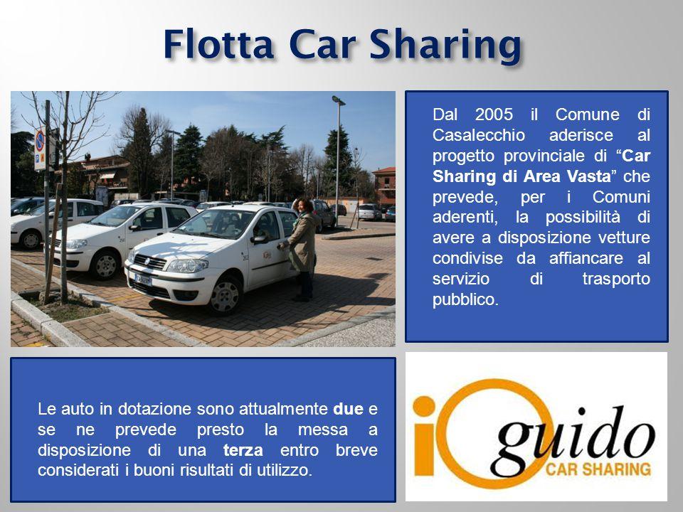 Flotta Car Sharing Dal 2005 il Comune di Casalecchio aderisce al progetto provinciale di Car Sharing di Area Vasta che prevede, per i Comuni aderenti, la possibilità di avere a disposizione vetture condivise da affiancare al servizio di trasporto pubblico.