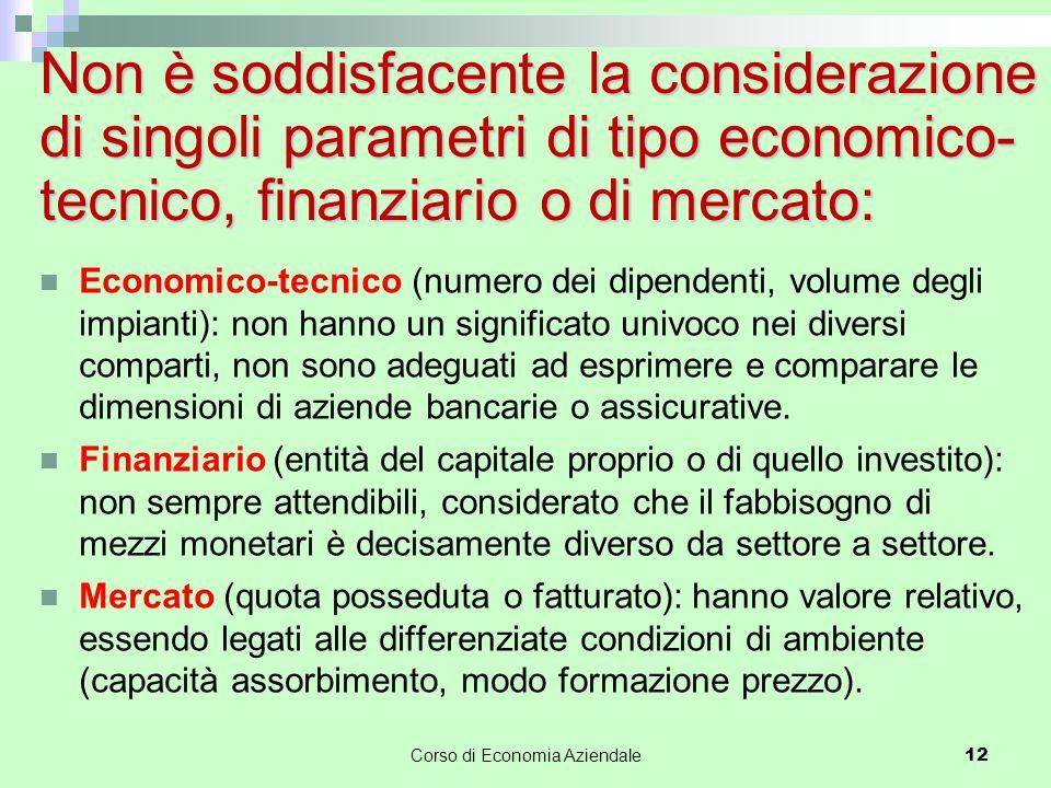 Non è soddisfacente la considerazione di singoli parametri di tipo economico- tecnico, finanziario o di mercato: Economico-tecnico (numero dei dipende