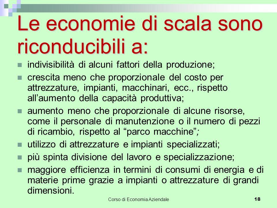 Le economie di scala sono riconducibili a: indivisibilità di alcuni fattori della produzione; crescita meno che proporzionale del costo per attrezzatu